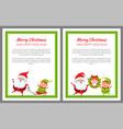 merry christmas santa and sled vector image vector image