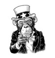 monkey uncle sam with pointing finger engraving vector image vector image