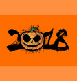 number 2018 and halloween pumpkin vector image