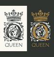 ornate letter q with crown logo design vector image