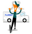 Plumber with van vector | Price: 1 Credit (USD $1)