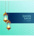 ramadan kareem festival card design with hanging vector image vector image