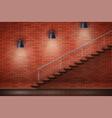 red brick wall loft interior vector image vector image