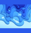 sea life paper cut undersea world with reefs vector image