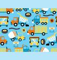 seamless pattern trucks cartoon with traffic vector image