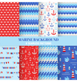 set marine backgrounds - sea time patterns vector image