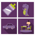 set o kinds icons of toys baby bottle little vector image vector image