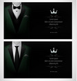 set of green tuxedo business card templates with b vector image vector image