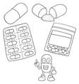 set of medicine capsule vector image vector image