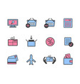 set of online colorful shopping icons vector image