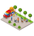 street food burger isometric composition vector image vector image