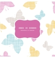 Textile textured colorful butterflies frame vector image vector image