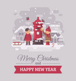 two cute children sending a letter to santa claus vector image vector image