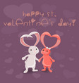 valentines day with bunnies vector image