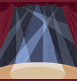 view from stage with spotlight beams in theater vector image