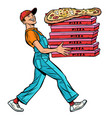 young man pizza boy food delivery isolate on vector image vector image