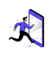 a man running to phone catch bell image vector image