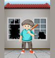 bad kid hit the window glass vector image