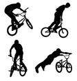 bmx cyclist silhouettes vector image vector image