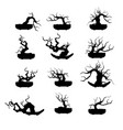 bonsai tree plant silhouette icons on background vector image