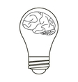 brain idea bulb concept outline vector image vector image