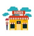 burger building restaurant menu vector image vector image
