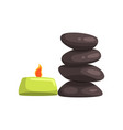 burning aroma candle and spa stores for massage vector image