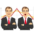 businessmen with line graphs vector image vector image