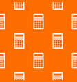 calculator pattern orange vector image vector image
