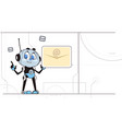 chatbot robot hold new message notification sign vector image vector image