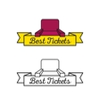 cinema armchair logo with yellow ribbon vector image
