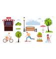 color urban park elements set for public place vector image