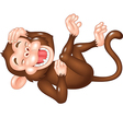 Cute monkey laughing isolated on white background vector image