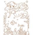 Doodle mermaid and sea