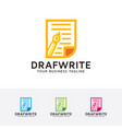 draft write logo design vector image vector image