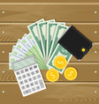 finance money banknote and coin wallet and vector image