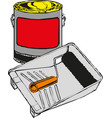 full paint bucket with roller vector image