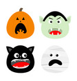 happy halloween icon set pumpkin vampire count vector image