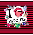 I love patches Poster banner with Patch Badges vector image vector image