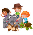 isolated kids with wild animals vector image vector image
