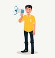 joyful man speaks into a shout or a megaphone vector image