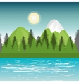landscape mountain green river design vector image vector image