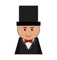 man cartoon wearing suit with top hat icon image vector image vector image