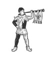 medieval trumpeter sketch vector image vector image