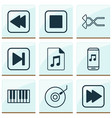 multimedia icons set with synthesizer fast vector image vector image