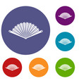 opened oriental fan icons set vector image vector image