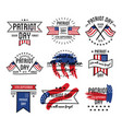 patriot day on 11th of september emblems set vector image vector image