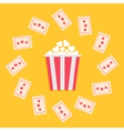 Popcorn Box and Ticket round frame with stars vector image