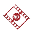 Red grunge 3d film logo vector image