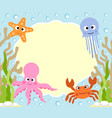 sea animals cartoon background card vector image vector image